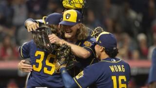 Corbin Burnes, Josh Hader, Kolten Wong Brewers Baseball