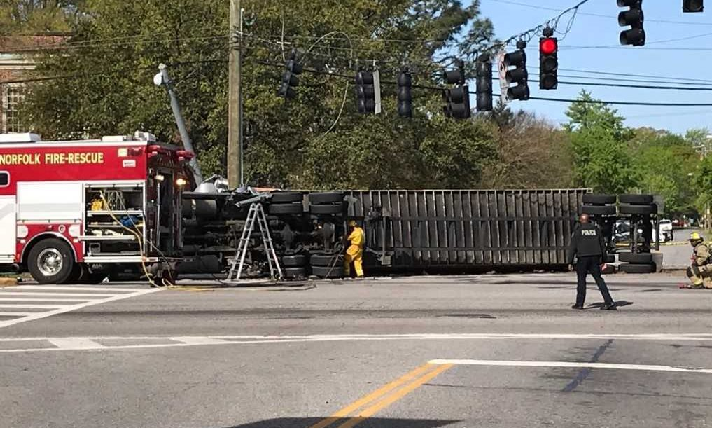 Photos: Portion of Hampton Blvd. in Norfolk closes after tractor trailer overturns