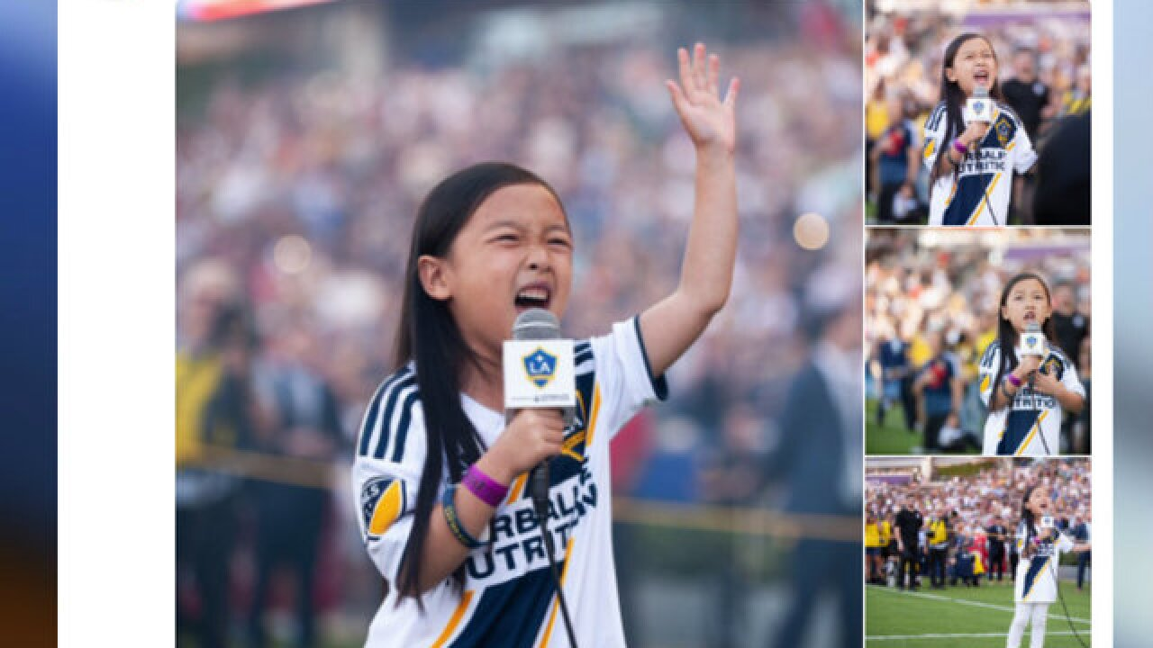 WATCH: 7-year-old girl's rendition of National Anthem wows crowd at LA Galaxy match