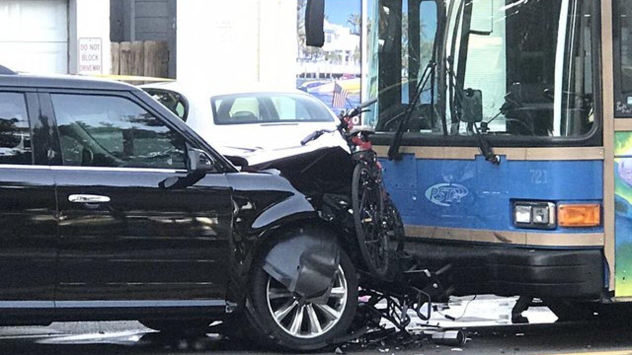 Crash involving vehicle, PSTA bus, pedestrian