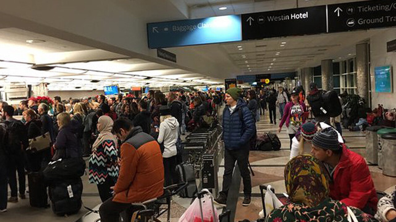 Massive backups at DIA security line overnight