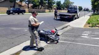 Motorcyclist taken to hospital with injuries