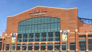 Lucas Oil Stadium roof still half open
