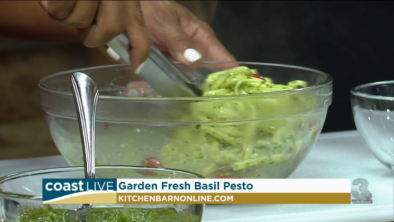 Making a fresh basil pesto with Chef Jacqui on Coast Live