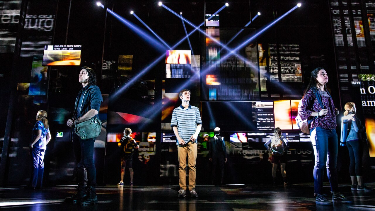 1 - Ben Levi Ross as 'Evan Hansen' and the Company of the First North American Tour of Dear Evan Hansen. Photo by Matthew Murphy. 2018.jpg