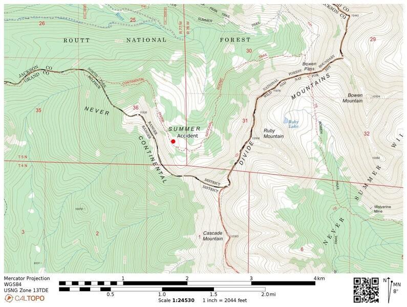 Location of Feb 16 2021 avalanche near Ruby Mountain near Rand