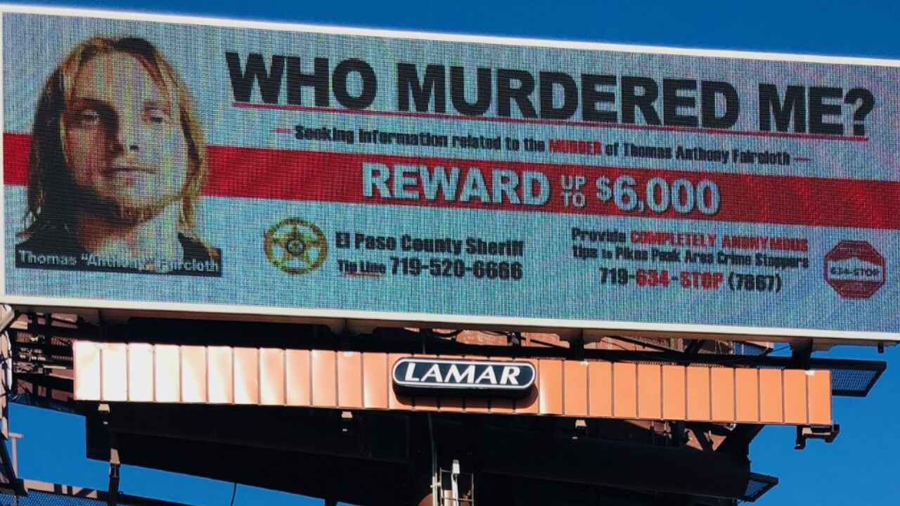 Two new billboards have gone up in Colorado Springs asking for tips to help solve the murder of Thomas Faircloth