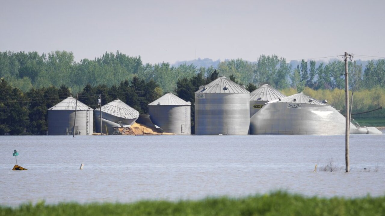 In this May 10, 2019 photo, grain bins belonging to Brett Adams are surrounded by flood waters, in Peru, Neb. Adams had thousands of acres under water, about 80 percent of his land, this year. The water split open his grain bins and submerged his parents' house and other buildings when the levee protecting the farm broke. (AP Photo/Nati Harnik)