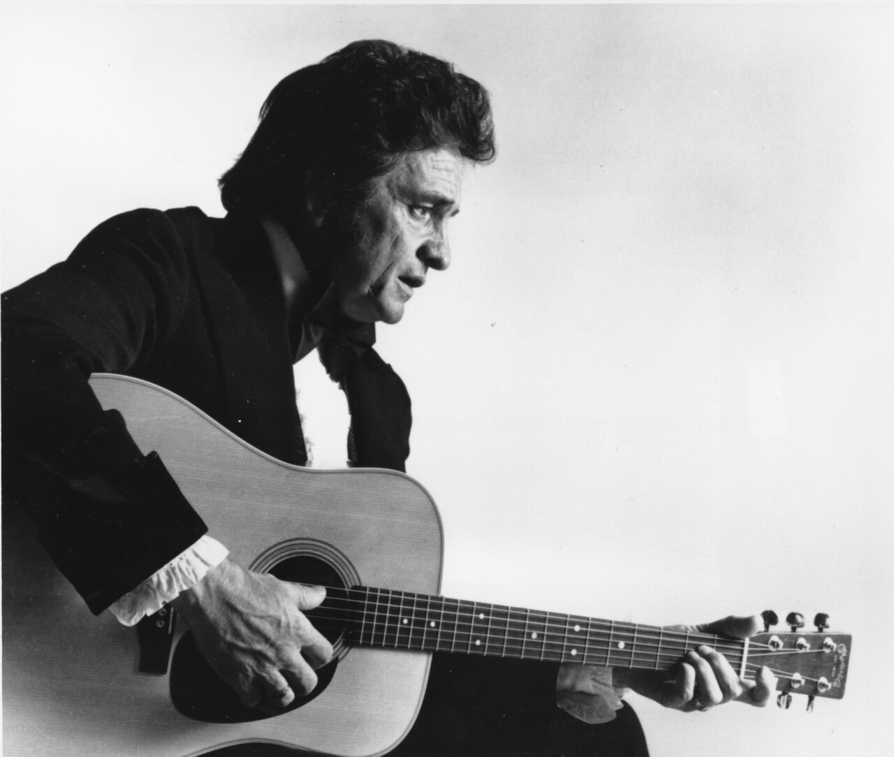 This is a 1977 file photo of country western musician Johnny Cash.