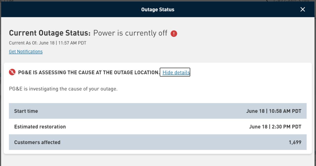 pg&e outage