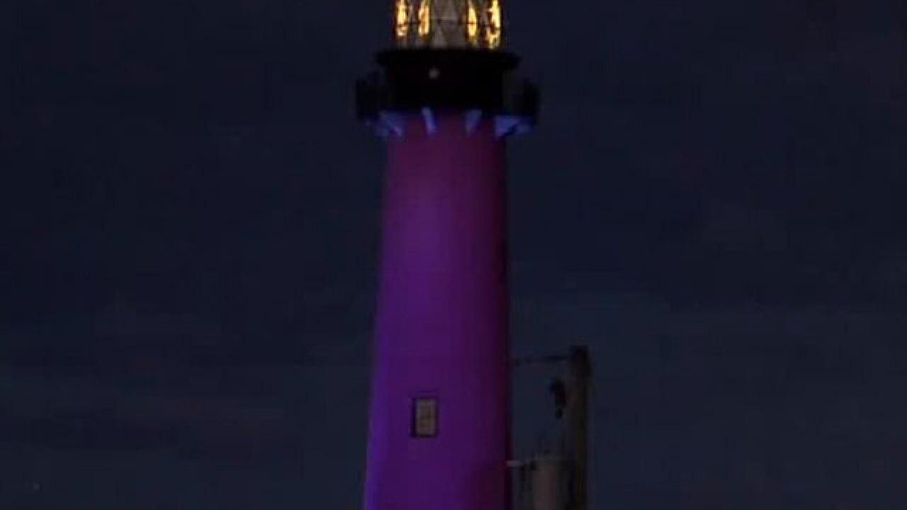 Jupiter Inlet Lighthouse goes blue for autism