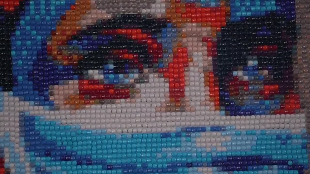 beads on canvas art by Jan Henry-Blanton