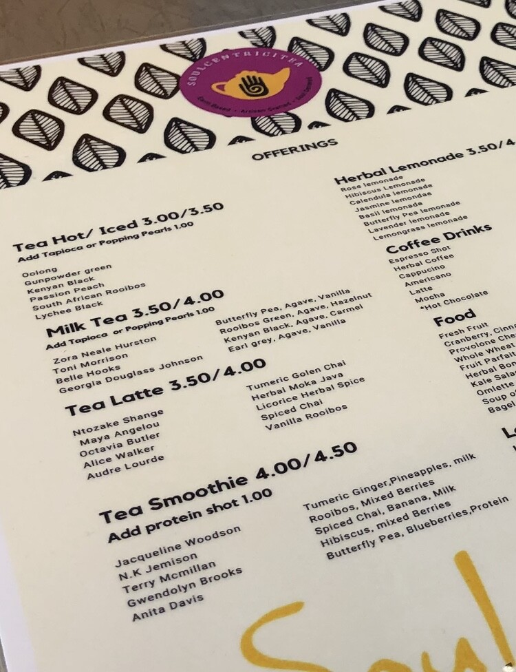 Soulcentricitea offers drinks named after popular Black female authors