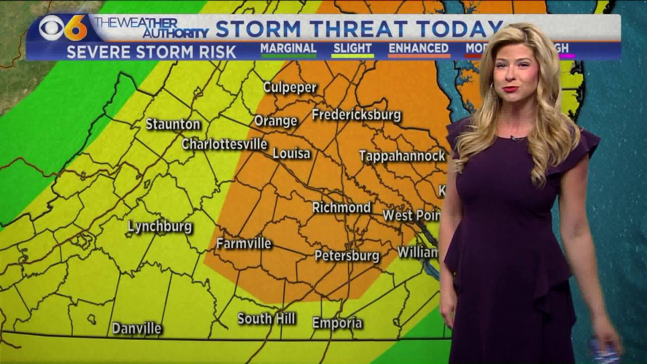 Showers, thunderstorms arrive Monday along with severe weather risk