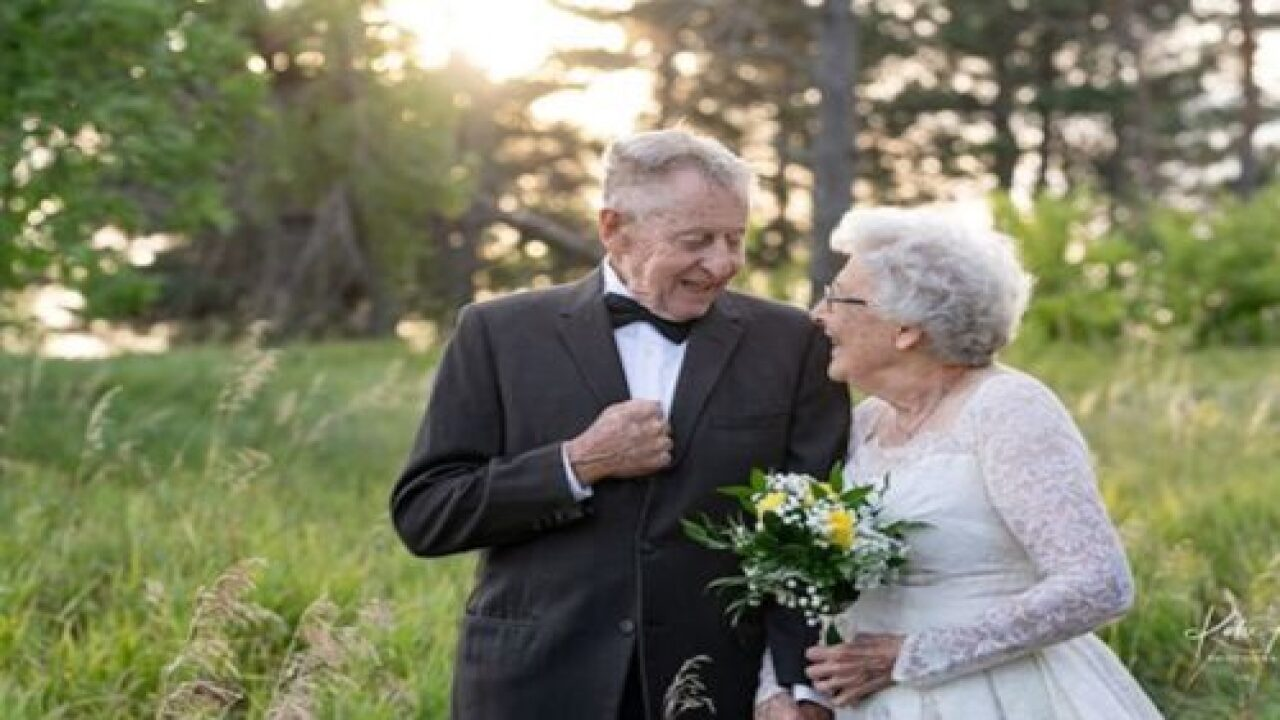 Husband And Wife Wear Their Original Wedding Gown And Tuxedo For 60th Anniversary
