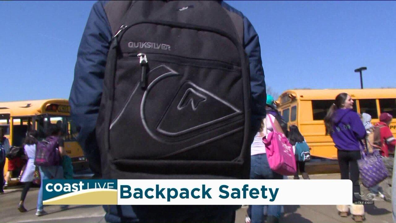 A backpack safety demonstration and preventing backpack back pain on CoastLive
