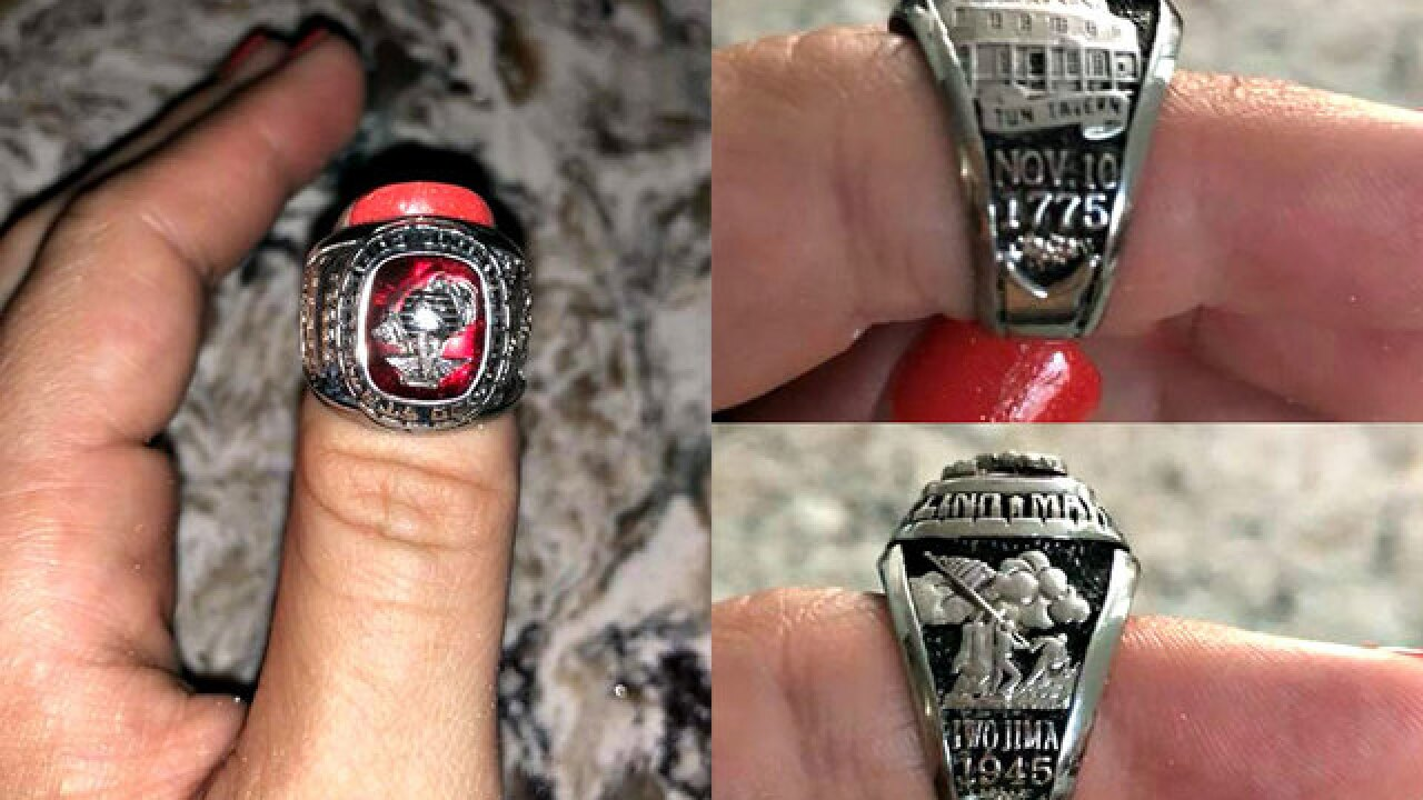 Woman finds Marine Corps ring on Florida's Siesta Key, hopes to find owner