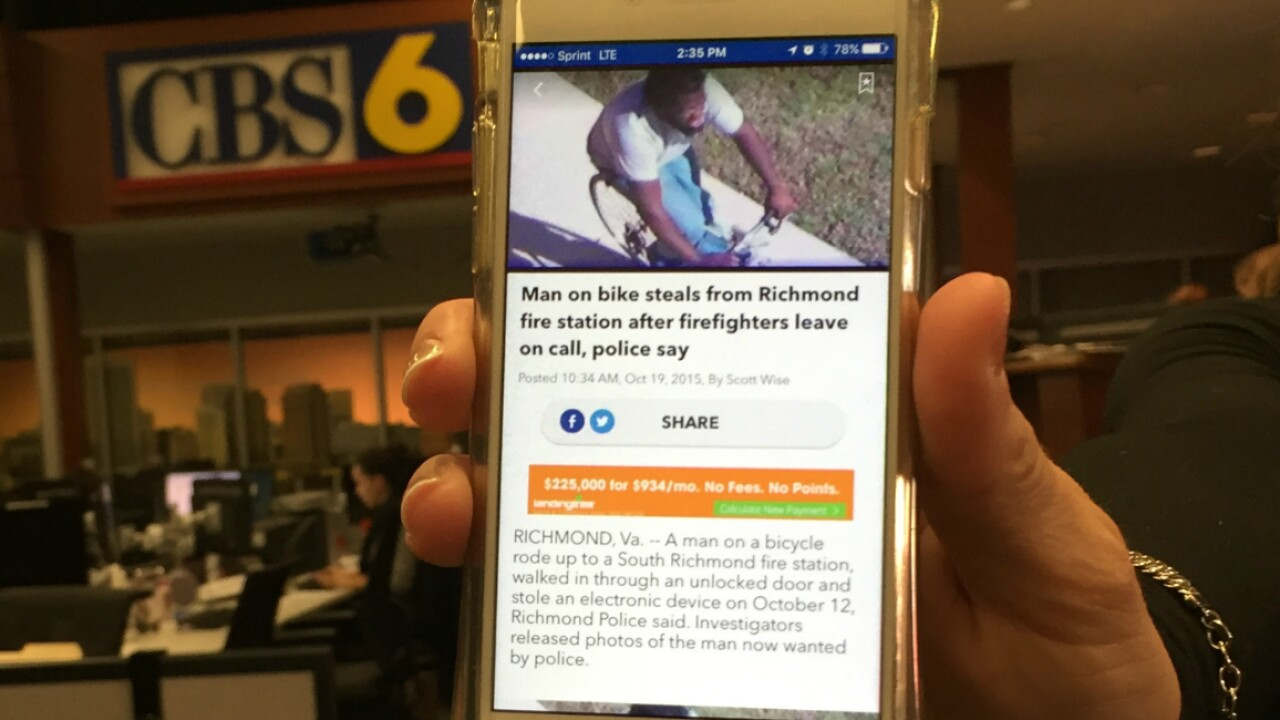 'Yo dog, that's me' Man sees picture on WTVR app, surrenders topolice
