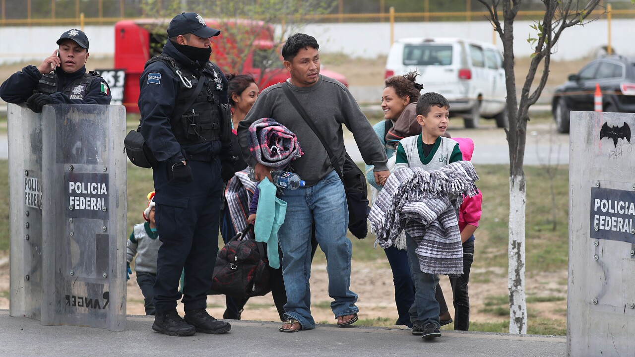 Thousands Of Migrants Wait To Enter U.S At Small Texas Border Crossing