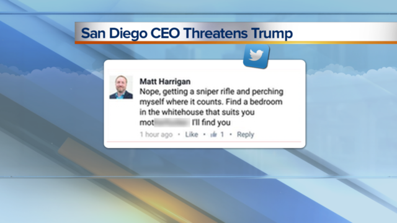 CEO who threatened Trump says he was drunk