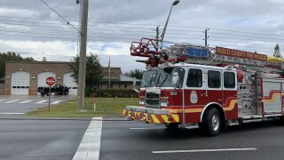Truck hits fire station in Pasco County