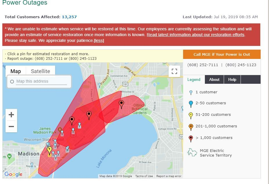 Madison Gas & Electric outage map
