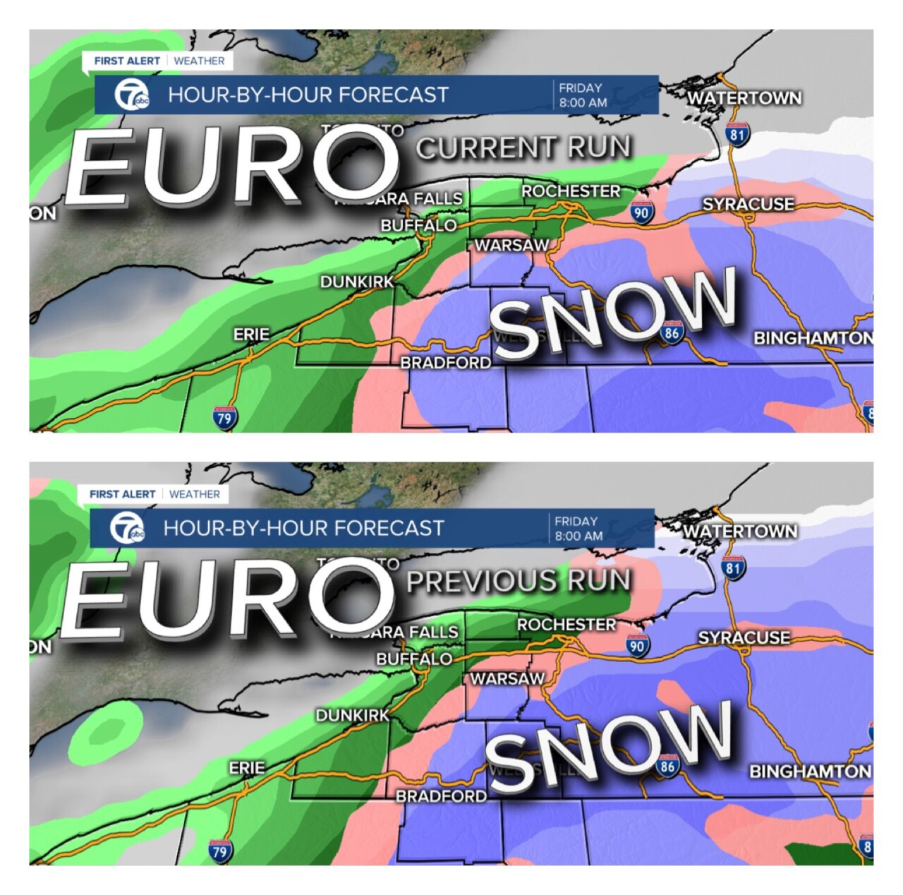 Euro snow potential, current and previous run