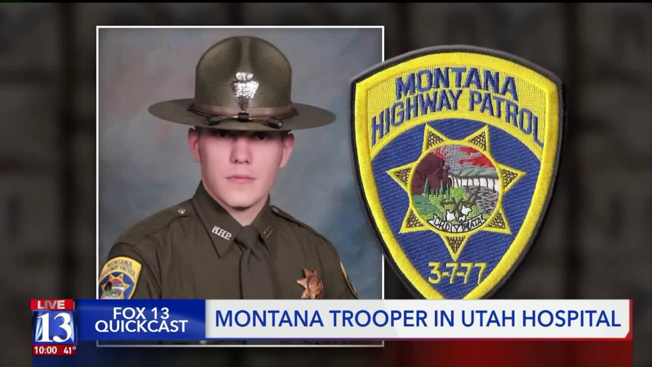 Montana Highway Patrol members stand guard over trooper shot in the line of duty as he clings to life in Utah hospital