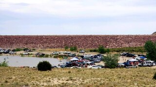 A crowded Lake Pueblo State Park