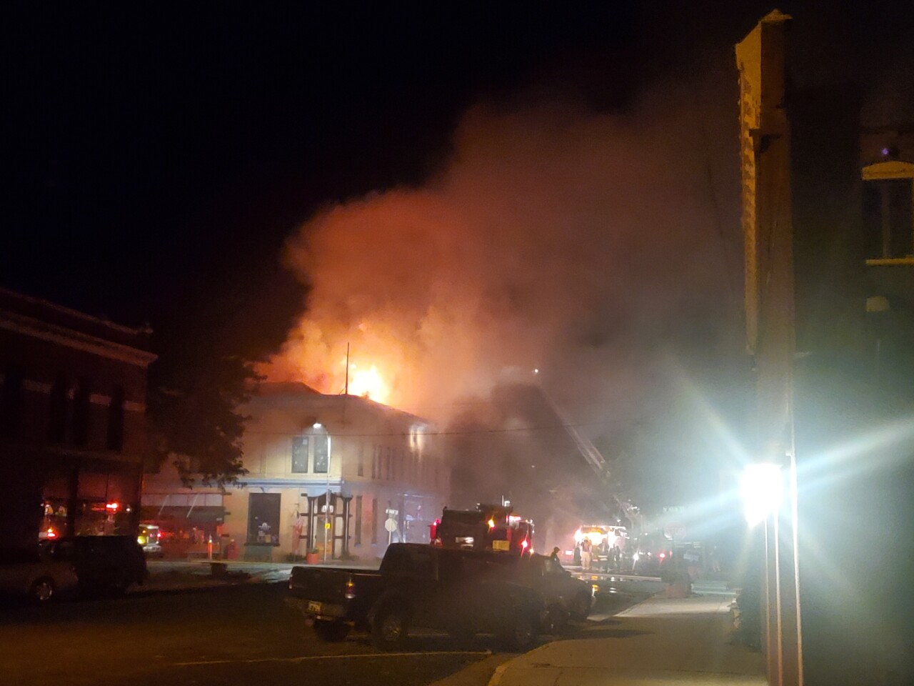 The building at the corner of Main Street and Santa Fe in downtown Florence that caught on fire.