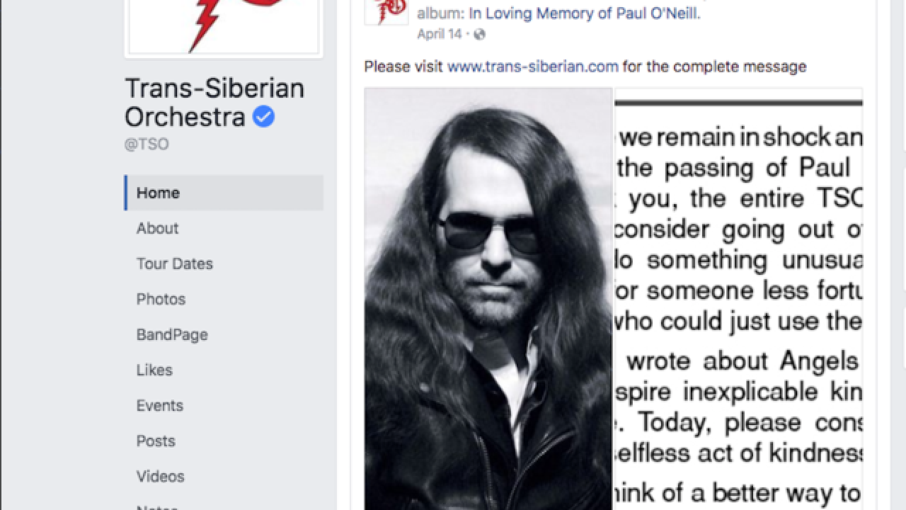 Trans-Siberian Orchestra founder Paul O'Neill died of overdose, report says