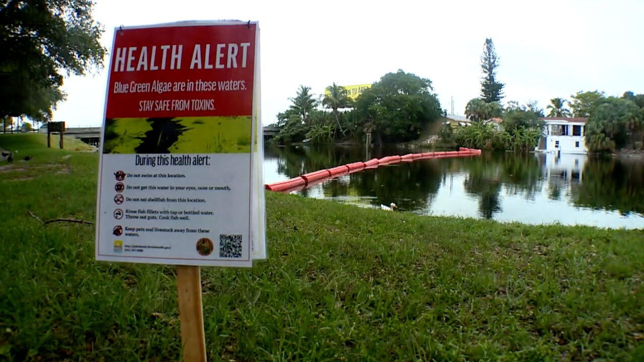 Health alert sign on C-51 canal