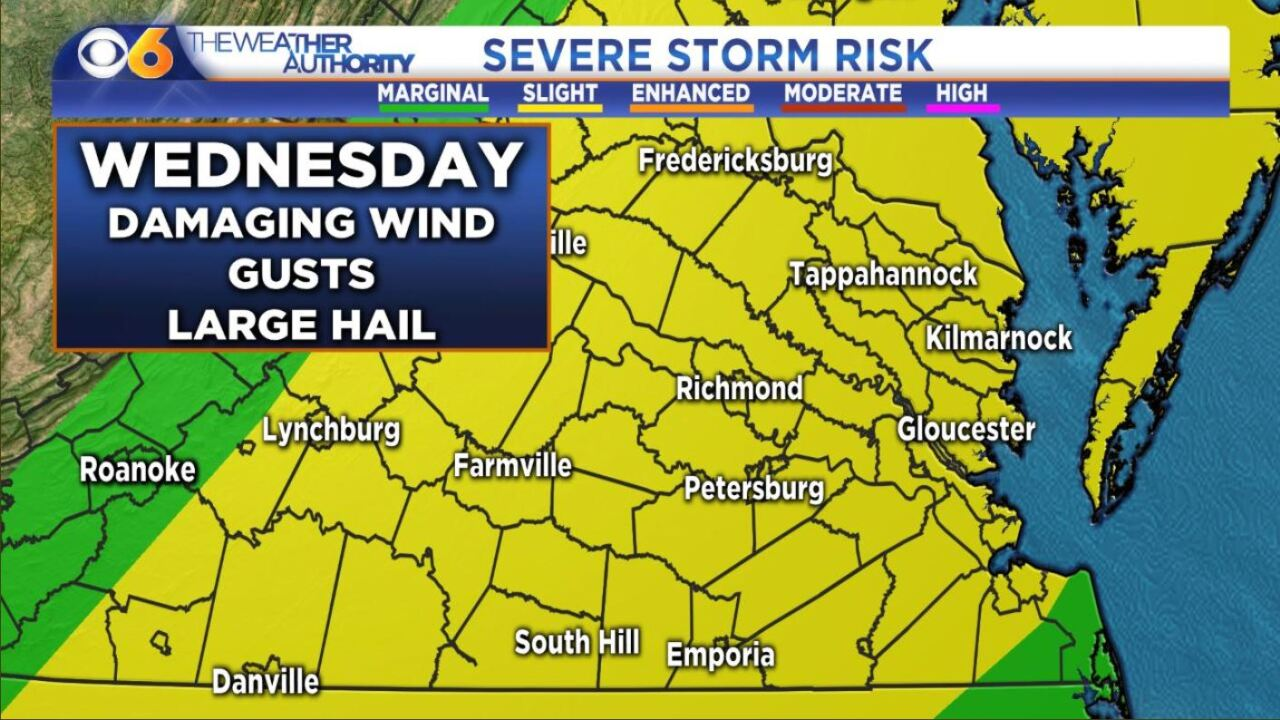 When damaging weather will threaten Virginia thisWednesday