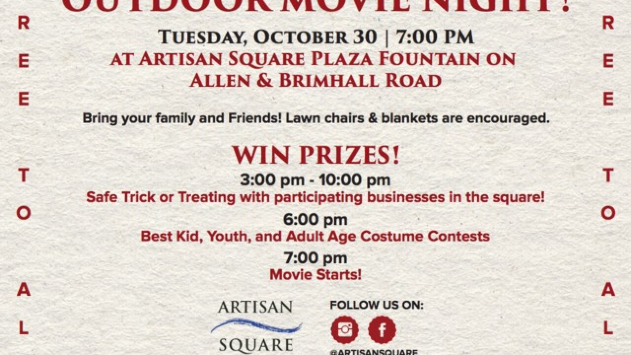Artisan Square Shopping Center hosts Halloween edition of outdoor movie night