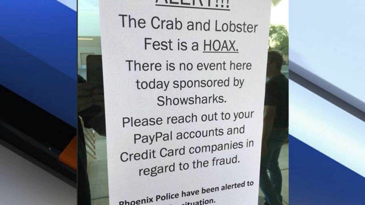 Dozens say they were scammed by PHX 'crab feast'