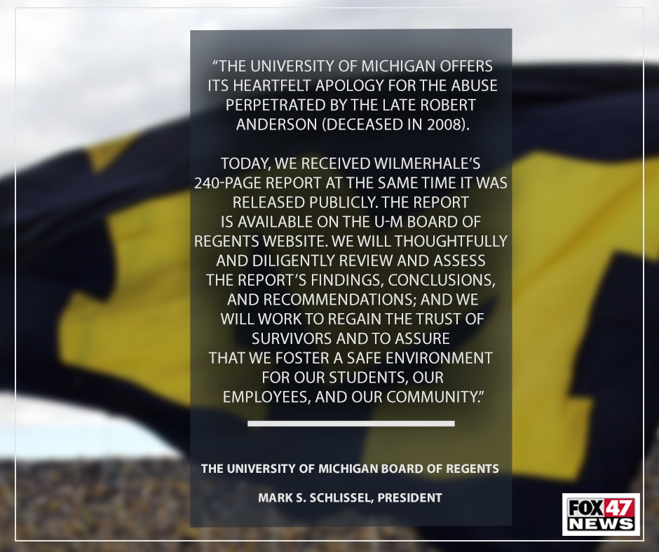 Comments by the University of Michigan Board of Directors on the abuse perpetrated by Dr. Robert Anderson