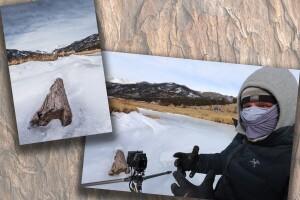 Scott Wilson taking picture of log in frozen river.jpg