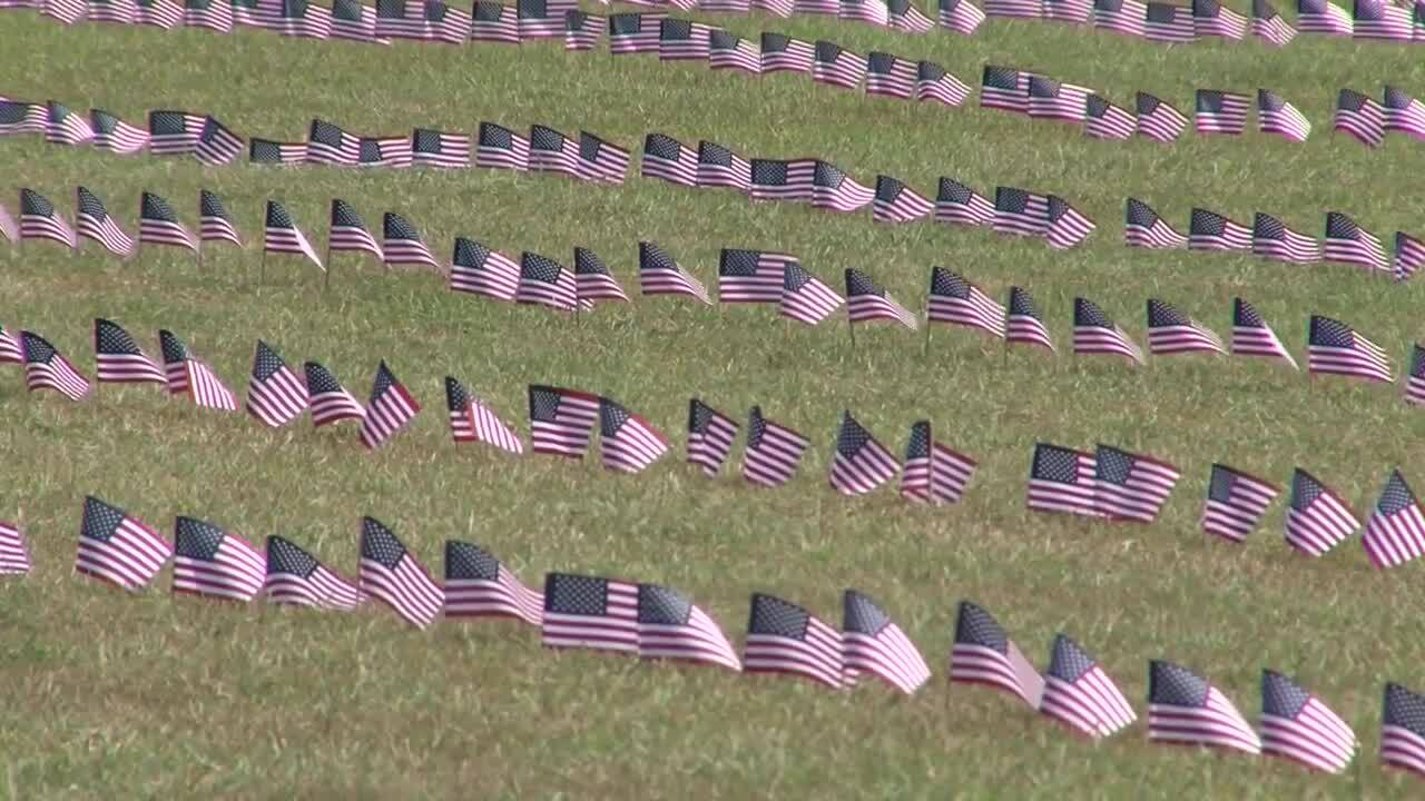 Flags displayed at Heritage Baptist Church to remember 9-11 victims.
