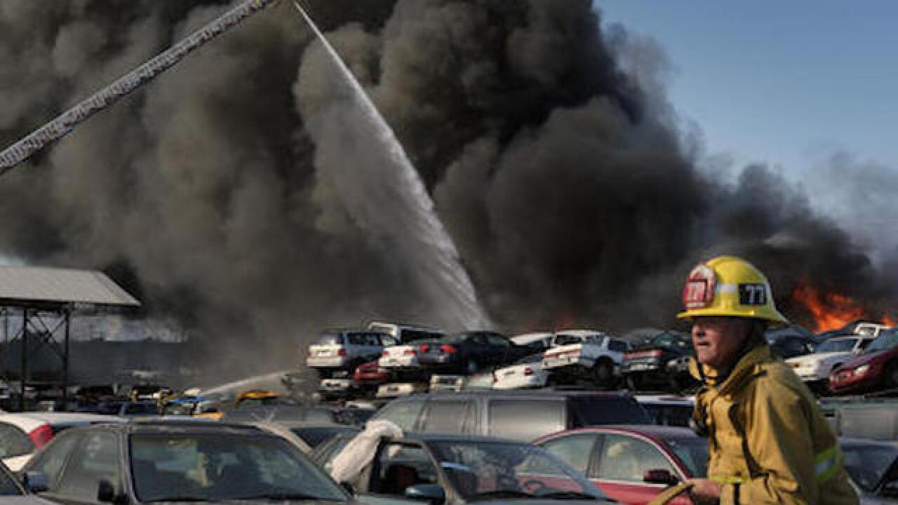 Junkyard fire sends smoke across LA