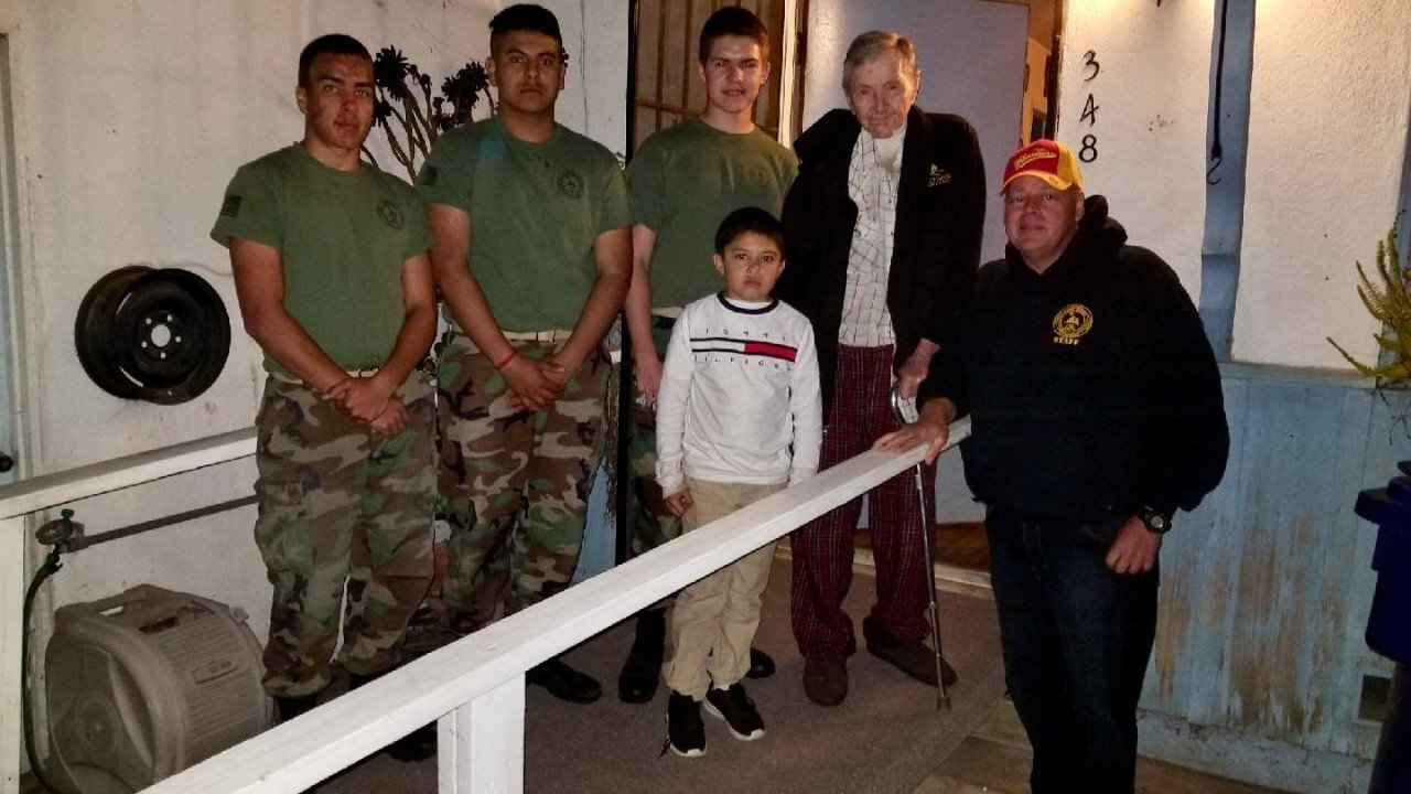 Young Marines give back to local veteran in need of a wheelchair ramp for his home