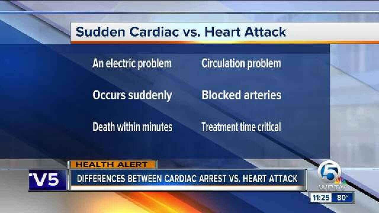 What are the differences between cardiac arrest and a heart attack?