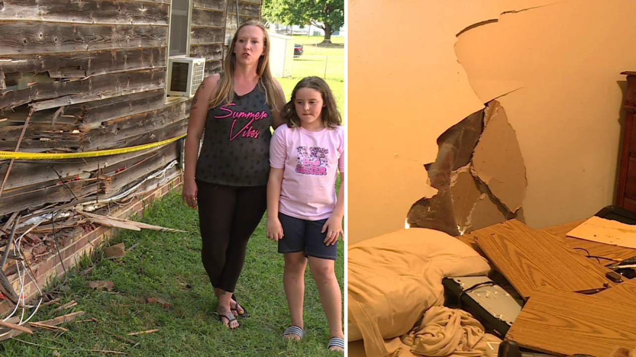 Dinwiddie family 'lucky to be alive' after truck crashes intohome