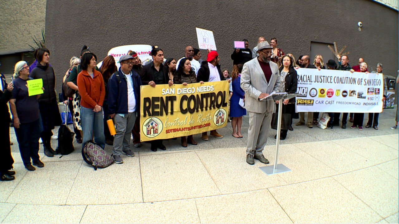 About 40 demonstrators from the Racial Justice Coalition of San Diego gathered outside San Diego City Hall Dec. 17