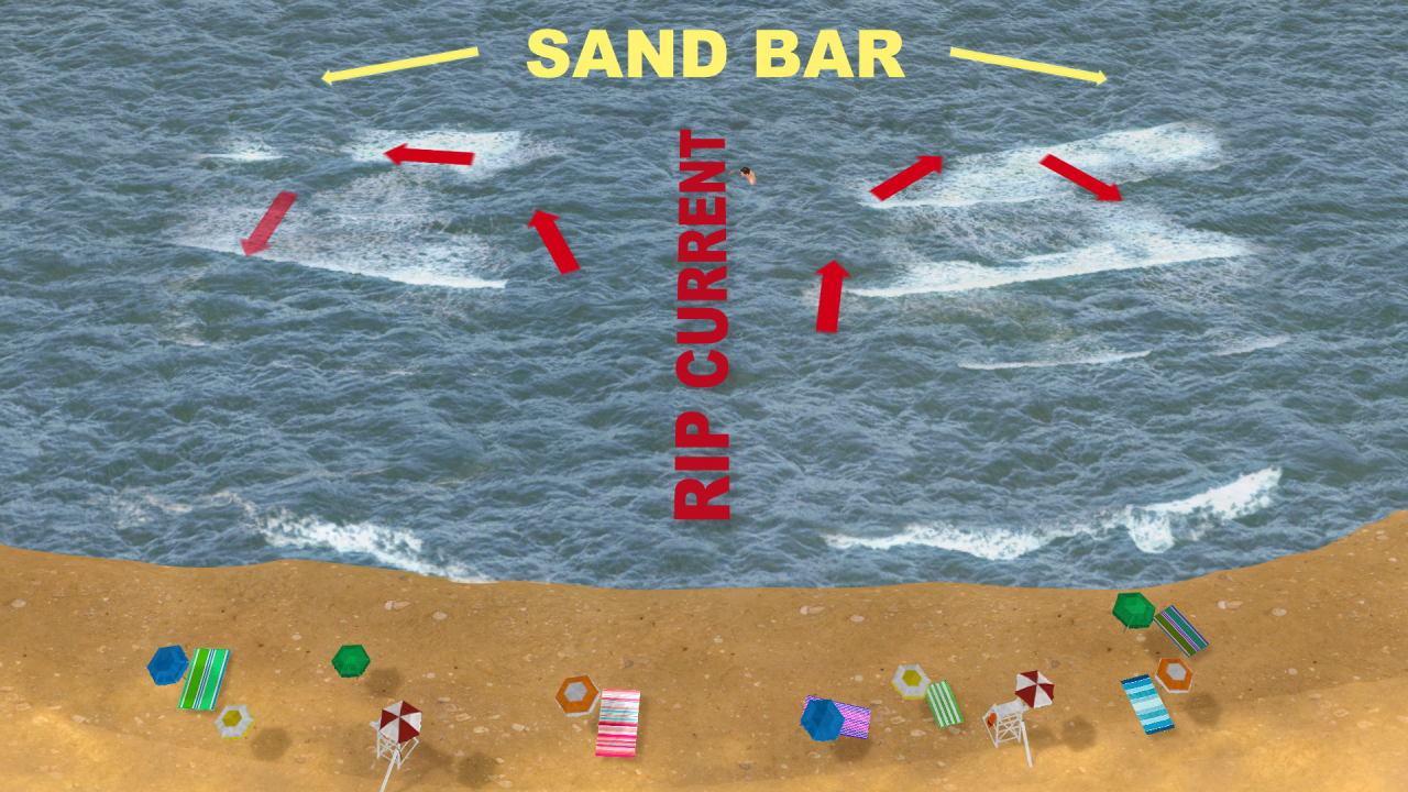 Rip currents form with high winds, high waves and near shorelines.