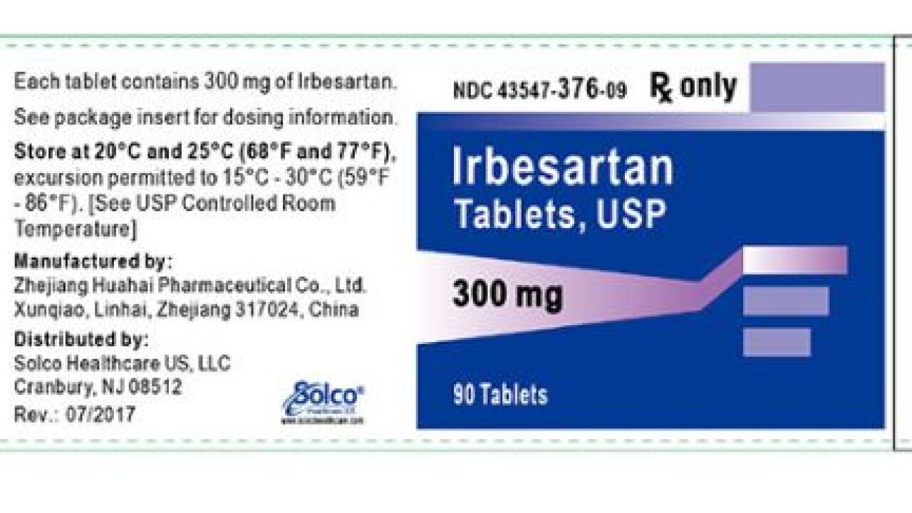 Blood pressure medicine Irbesartan has been recalled due to cancer-causing impurity