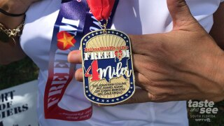 The 2020 race medal for those participating in the Freedom 4 Miler.