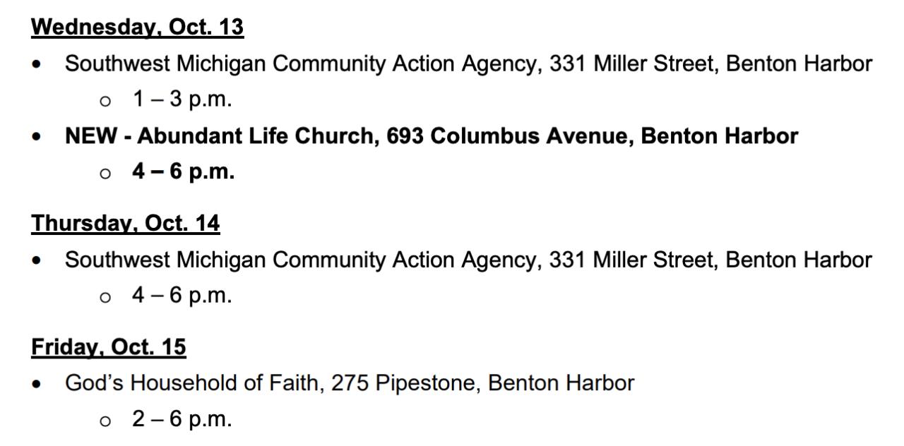 Benton Harbor water distribution schedule