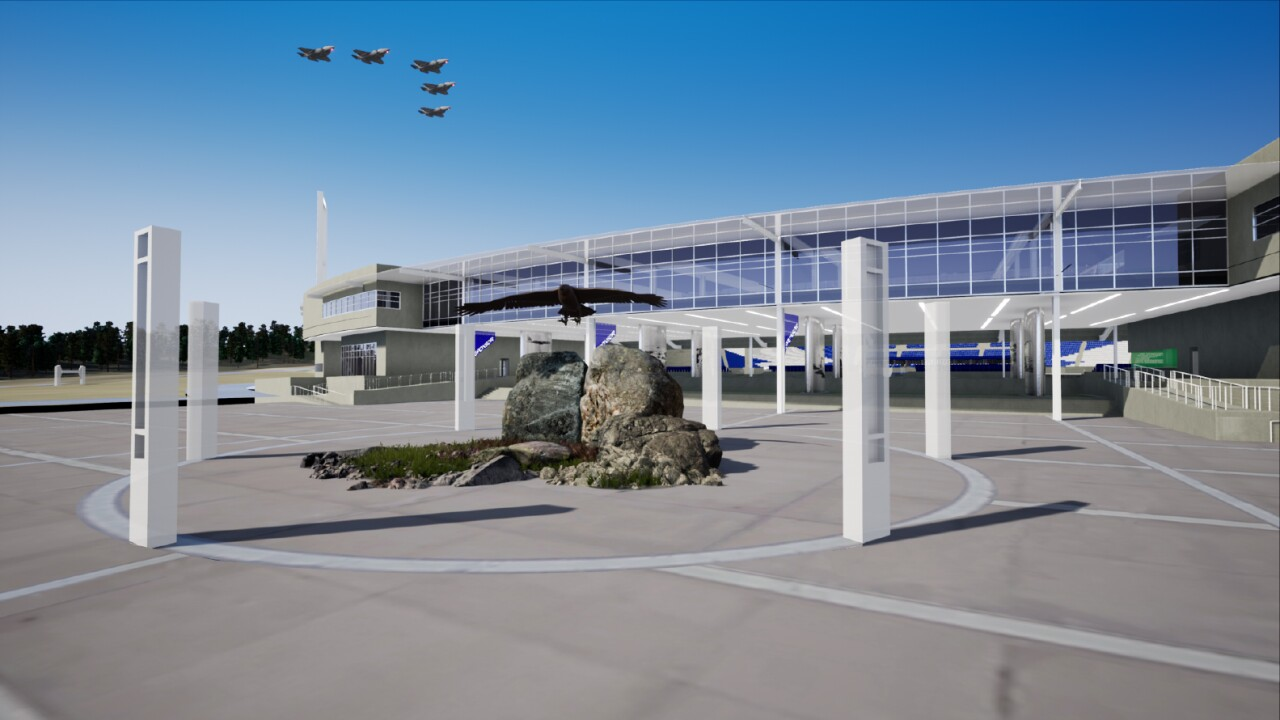 Rendering of the proposed east side entrance of Falcon Stadium