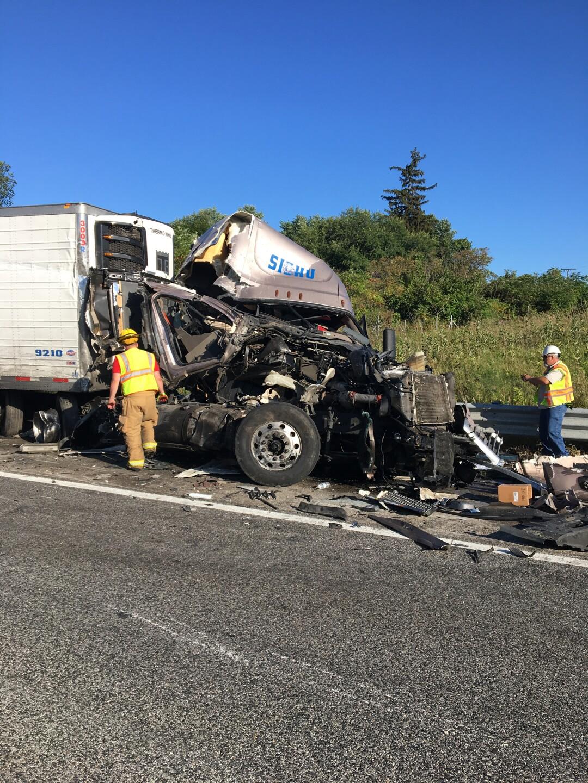 Photos: Only minor injuries when 2 semis collide on I-94 in Van BurenCounty