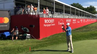 Nate Lashley Rocket Mortgage Classic trophy